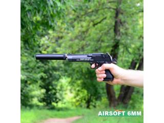Pistol airsoft calibru 6mm,replica DESERT EAGLE cu amortizor si 500bile bonus
